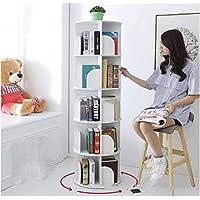 5 Tiers Versatile Round Wooden Rotating Swivel Bookshelf Bookcase Cabinet White 159CM