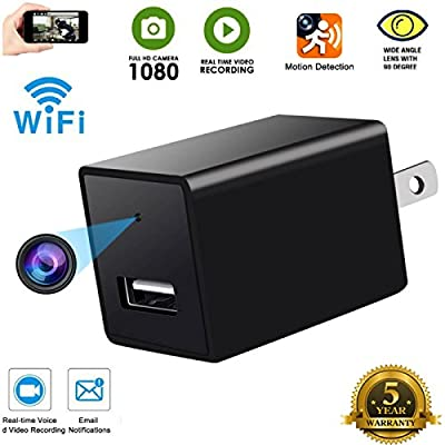 Spy Camera Wireless Hidden -Indoor USB Wall Charger Camera-Nanny Cam-Wifi Hidden Camera-Plug In Camera With Motion Detection -For Home/kids/Pets Security by All about security Ltd, co