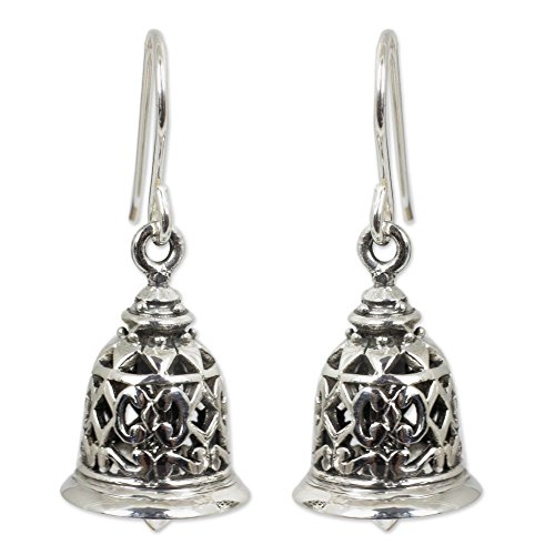 - NOVICA .925 Sterling Silver Bell-Shaped Dangle Hook Earrings 'Temple Bell'