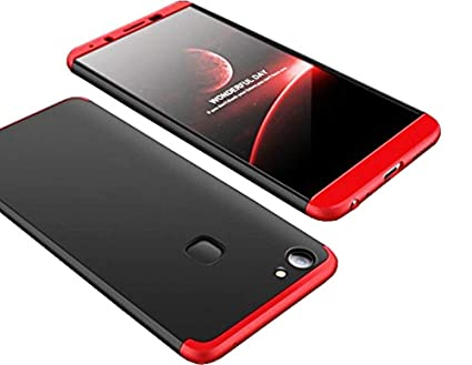 newest 32862 ce800 ANVIKA Hard Plastic Cocose 360 Degree 3in1 Matte Case Cover for Vivo V7  Plus (Black and Red)