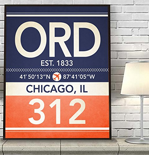 Chicago Illinois ORD 312 Vintage Airport Area Code Map Coordinates Subway Art Print, UNFRAMED, Customized Colors, Christmas-Father's Day- Housewarming gift home decor poster, ALL - Illinois Airports Chicago