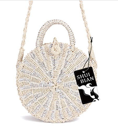 Beach Bag Summer Handbags Shuibian Crochet Bag Shoulder Women Silver Round Bag Crossbody Straw RwPPYUqv