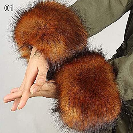 Women's Arm Warmers Thick Womens Autumn Wrist Gloves Fashion Faux Fox Fur Elastic Oversleeve Cuff Winter Warm Arm Wrist Sleeve Cuff Cover Apparel Accessories