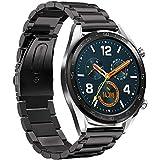 Jasinber Correa de Acero Inoxidable Reemplazo de Banda de la Muñeca para Huawei Watch GT 2 46mm / Watch GT (Negro)