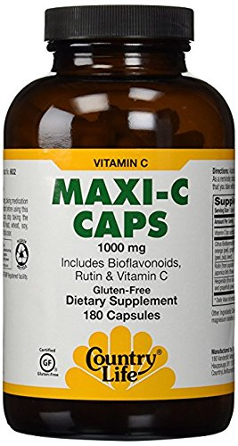 Country Life Maxi-C Caps 1000 Mg (with bioflavonoids, Rutin & Vitamin C, 180 Capsules by Country Life