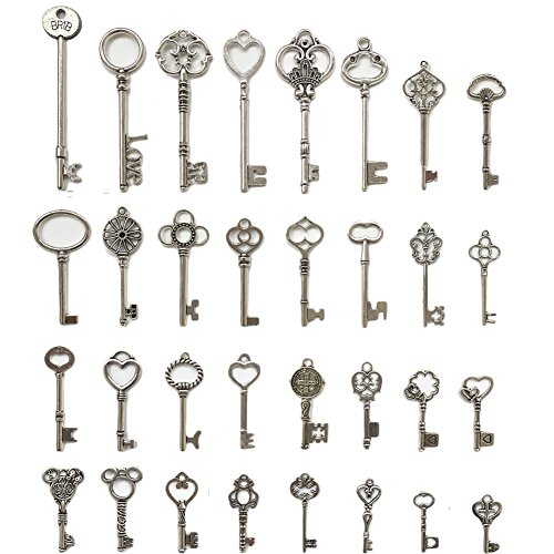 N'joy 32PCS Vintage Skeleton Keys, Mixed Steampunk Keys,Antique Silver (X32Y) (Victorian Key)