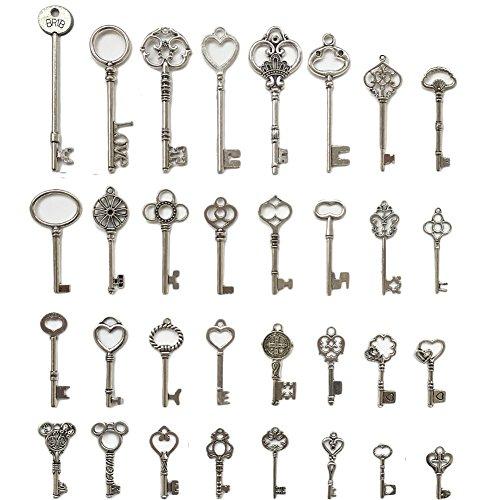N'joy 32PCS Vintage Skeleton Keys, Mixed Steampunk Keys,Antique Silver (X32Y) (Key Victorian)