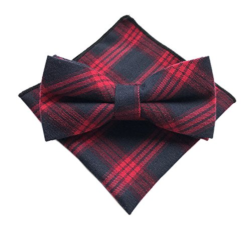 Elfeves Men Navy Blue Red Bow Tie Collection Woven Cravat Fashion Christmas Gift