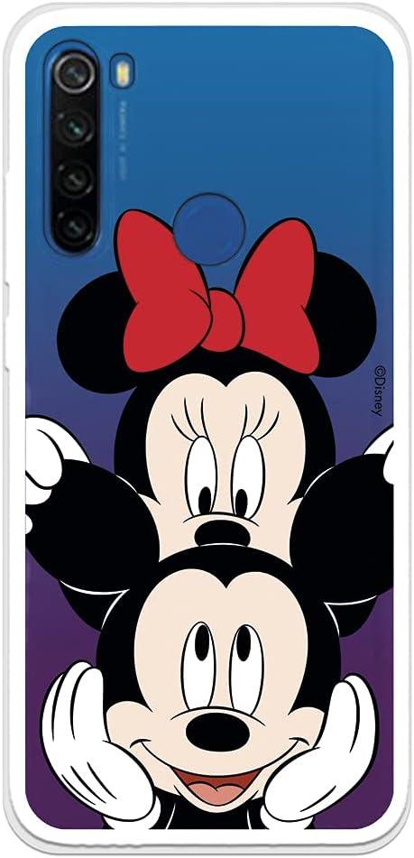 Funda para Xiaomi Redmi Note 8T Oficial de Clásicos Disney Mickey y Minnie asomado para Proteger tu móvil. Carcasa para Xiaomi con Licencia Oficial de Disney.