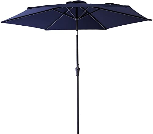 FLAME SHADE 9 ft Outdoor Patio Umbrella with Tilt – Navy Blue