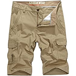 Vcansion Men's Cotton Summer Multi Pocket Twill Cotton Military Style Cargo Shorts Khaki US 38/Label 40