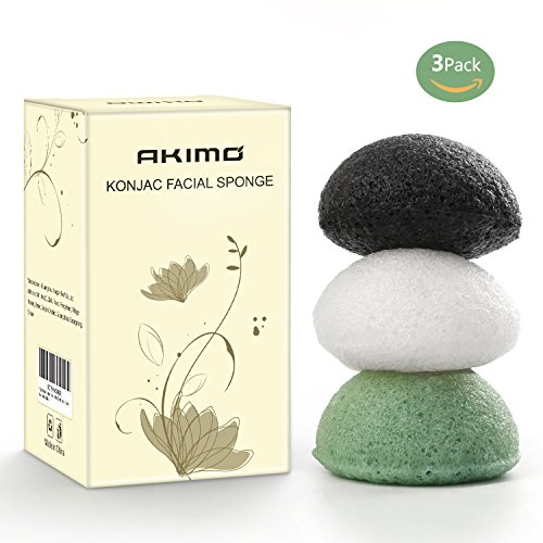 Akimo Konjac Facial Sponge - 3 Pack Natural Activated  Face