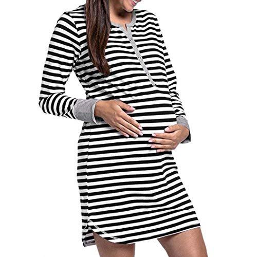 Franterd Women Maternity Breastfeeding Dress Long Sleeve Button Pregnancy Nightie Stripes Baby Shower Long Shirt