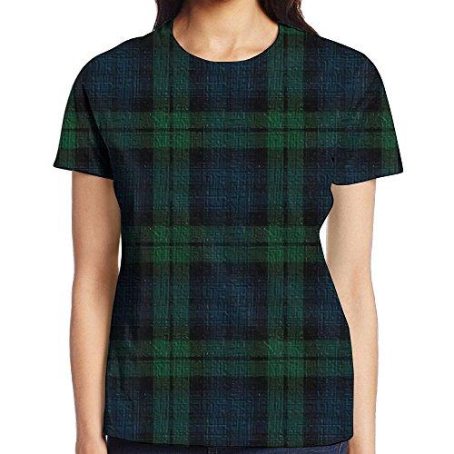Womens Clothing : Watches Black - VHJDYK Women's Short Sleeve Black Watch Plaid T-Shirt Cotton Tee Full 3D Graphic Printed