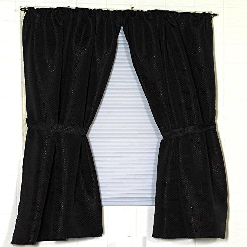 Carnation Home Fashions Lauren Dobby Fabric Bathroom Window Curtain, 34-Inch by 54-Inch, Black Black Carnation