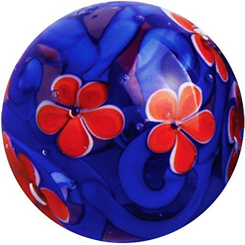 22mm MIDNIGHT GARDEN Orange Flower Handmade Contemporary art glass Marble 7/8