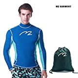 MZ Garment Rash Guard Men UV Sun Protection Basic Skins Long Sleeve Crew Sun Shirt Surfing Shirt (005-blue, L)