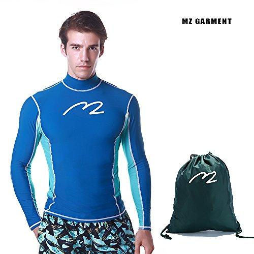 MZ Garment Rash Guard Men UV Sun Protection Basic Skins Long Sleeve Crew Sun Shirt Surfing Shirt (005-blue, L) by MZ Garment
