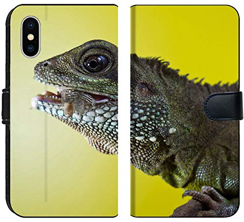 Liili Premium iPhone XS Flip Micro Fabric Wallet Case Close up Portrait of Beautiful Water Dragon Lizard Reptile Eating an Insect Photo 19504434