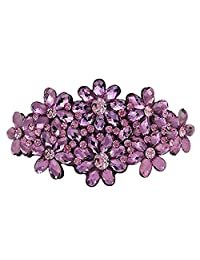 Crystal Flower Barrette French Hair Pin Clip Clasp for Women Girl (Purple)