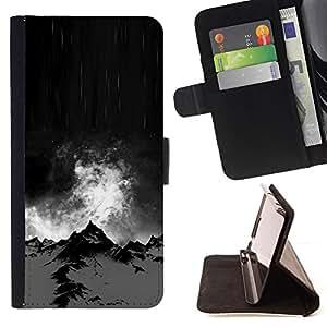 """For HTC One Mini 2 M8 MINI,S-type Alaska Noche Negro Climb Invierno"""" - Dibujo PU billetera de cuero Funda Case Caso de la piel de la bolsa protectora"""