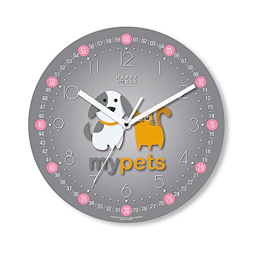 HappyVirus 11.22'' Educational Wall Clock, Children's Time Telling Teacher, Silent Non Ticking Home Decoration (My Pets) #2121 by HappyVirus