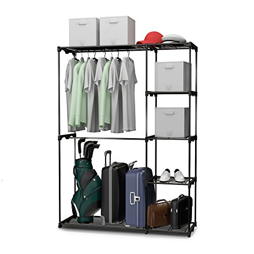 free standing closet system organizer heavy duty metal hanging shelves for your clothes bedroom. Black Bedroom Furniture Sets. Home Design Ideas