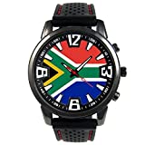 Timest - South Africa Country Flag Mens Black Jelly Silicone Wrist Watch Round Analog Quartz SF203