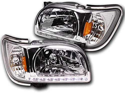ZMAUTOPARTS LED Bar Replacement Smoke Headlights Headlamps with Chrome Trim Corner Lamps For 2001-2004 Toyota Tacoma