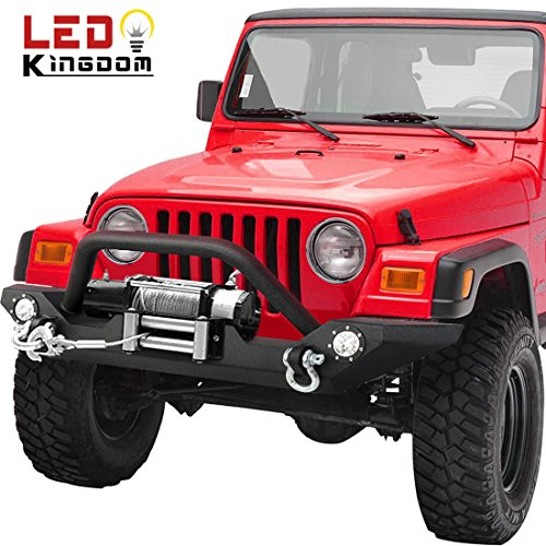 Yj Rock (LEDKINGDOMUS 87-06 Jeep Wrangler TJ/YJ Heavy Duty Rock Crawler Front Bumper With Winch Plate and LED Lights, Textured Black)