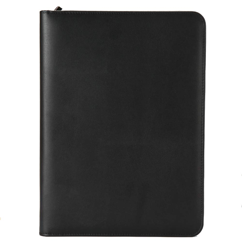 Longpro Trapper Keeper Portfolio Organizer Zipper Binder Leather Retro with A4-Size Writing Notepads Removable and Calculator for Resume, Office, Business, Interview, Job(Black)