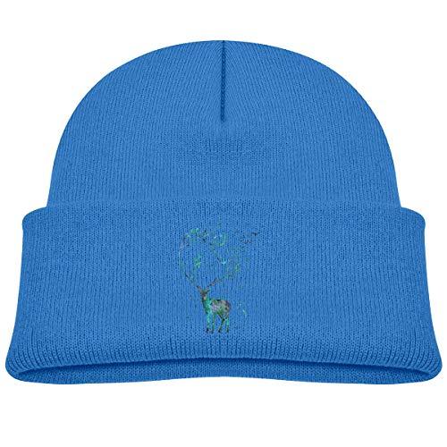 Laki-co Long Horned Deer Kid Knitted Beanies Hat Boys Girls Winter Hat Knitted Skull Cap -