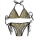 Eplus Women's Orange Camo Blaze Bikini Adjustable Swimwear Bra Swimsuit Sexy 2 Piece Set