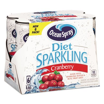 Sparkling Cranberry Juice, Diet, 8.4 oz Can, 6/Pack