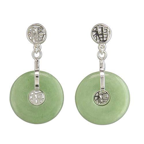 ec994ff56c41 Pendientes de tuerca de plata de ley con gota circular de jade verde   Amazon.es  Joyería
