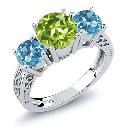 2.35 Ct Round Green Peridot Swiss Blue Topaz 925 Sterling Silver 3-Stone (Round Peridot 3 Stone Ring)