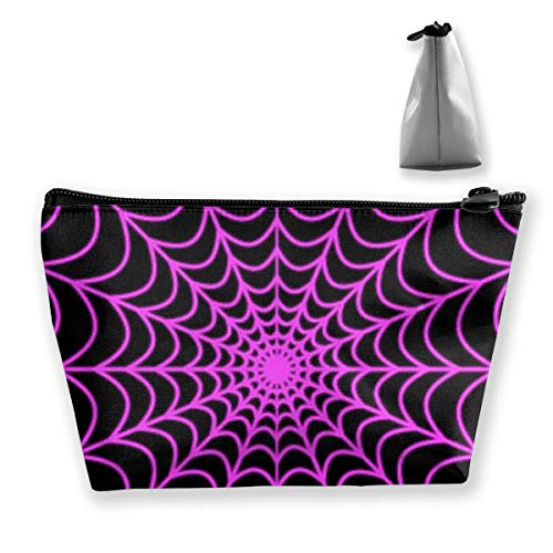 Women Halloween Spider Web Make Up Bag Organizer Multi-Purpose Cosmetic Train Case Fashion Zipper Tote Bag Large Capacity for Cosmetics Jewelry Trip -