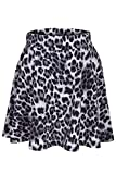 Leopard Animal Print Stretch A-line Flared Circle Skater Mini Skirt (L, Gray)