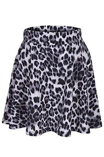 Leopard Animal Print Stretch A-line Flared Circle Skater Mini Skirt (L, Gray) -