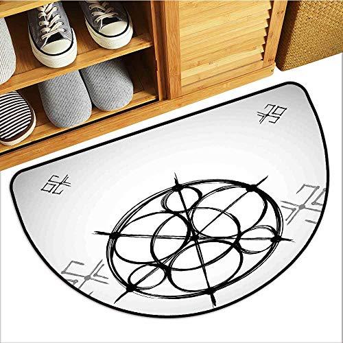 Pet Door Mat, Sacred Geometry Custom Rugs for Kids Room, Sketchy Geometric Plan with Swirled Spiral Origins of Cosmos Universe (Black Grey White, H16 x D24 ()