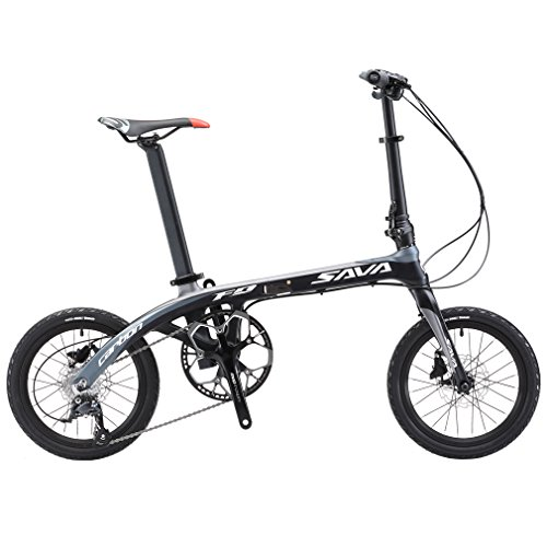 SAVADECK Folding Bike, 16 inch Carbon Fiber Frame Children Mini City Foldable Bicycle with Shimano SORA 3000 9 Speed Group Set (Black ()