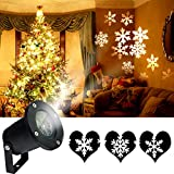 KOOT Christmas Light, Holiday Snowflake Decorations Outdoor Waterproof LED Light Projector White Moving Snowflake for Landscape Garden Holiday Party Decorations(12W)