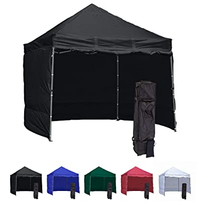 Vispronet 10x10 Pop Up Canopy Tent With 4 Side Walls – Compact Edition – Durable Aluminum Tent Frame, Water-Resistant Canopy and Sidewalls, Premium Stake Kit and Heavy-Duty Wheeled Storage Bag (Black) : Garden & Outdoor