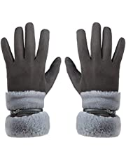 GLOUE Women's Touch Screen Gloves Texting Suede Leather Warm Winter Feast Gloves