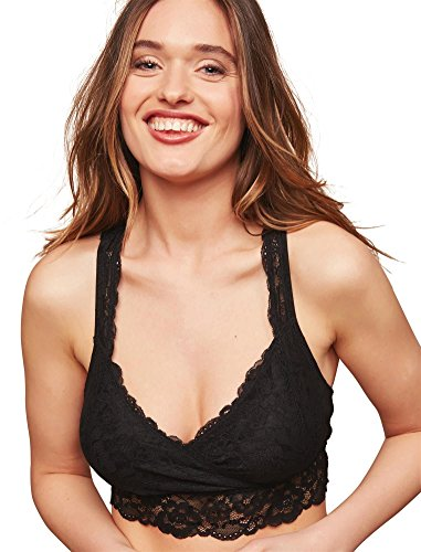 Motherhood Maternity Women's Maternity Lace Racerback Nursing Sleep Bralette, Black, Medium (Surplice Bra)
