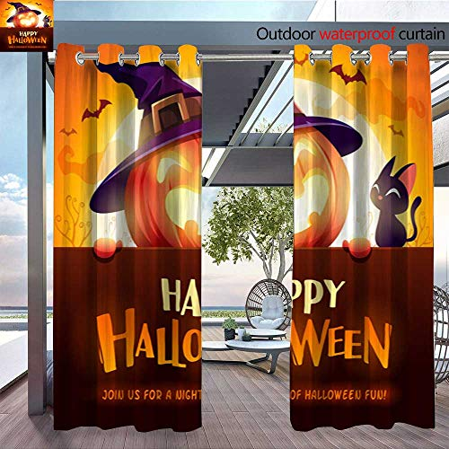 QianHe Dance Outdoor Indoor Curtain - Happy-Halloween!-Jack-O-Lantern-Pumpkin-Witch-hat-with-Big-Signboard-in-The-Moonlight-1.jpg Waterproof Patio Curtain W96 x L96(245cm x 245cm)
