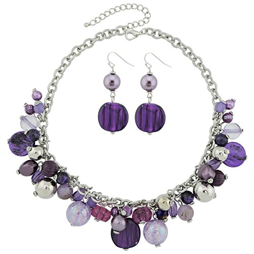 COIRIS Beaded Statement Necklace with Earrings Purple Beads Choker Collar -