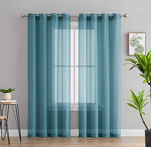 "HLC.ME 2 Piece Sheer Window Curtain Grommet Panels ) 54"" x 8"