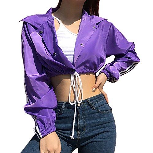 YKA Women's Tops, 2018 Autumn Single Breasted Loose Bandage Long Sleeve Navel Short Coat by YKA