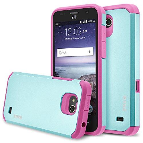 ZTE Overture 2 Case, RANZ Hot Pink with Aqua Blue Hard Impact Dual Layer Shockproof Bumper Case For ZTE Overture 2/ Maven/ Z810/ Z812/ Z813 / Z791/ Z792
